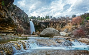 Картинка камни, скалы, HDR, водопады, Испания, stones, Spain, waterfalls, La Portellada