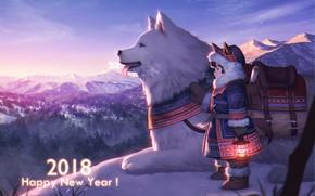 Картинка пейзаж, собака, аниме, арт, девочка, пёс, 2018, esukee