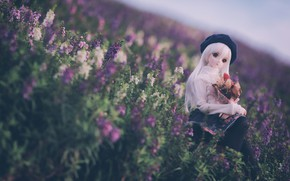 Картинка цветы, кукла, луг, берет