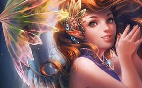 Обои девушка, фон, эльф, фея, арт, Sakimichan, фэнтЕзи