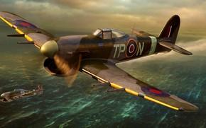 Обои Royal Air Force, истребитель-бомбардировщик, Typhoon, Mk.IB, Hawker, British, поршневой, artwork, WWII