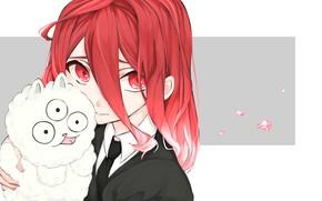 Картинка девушка, существо, аниме, арт, зверёк, Houseki no Kuni