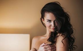 Обои close up, depth of field, long hair, lips, portrait, model, looking at camera, bare shoulders, ...