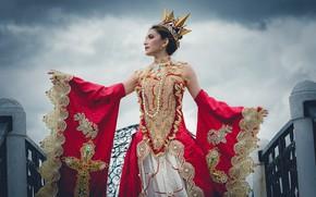 Картинка поза, стиль, модель, корона, платье, королева