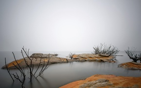 Картинка море, туман, берег