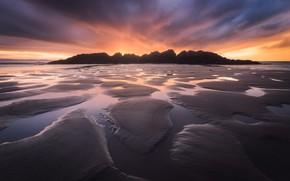 Обои пляж, скалы, небо, отлив, природа, вода