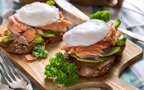 Картинка Зелень, Рыба, Бутерброд