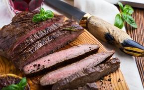 Картинка нож, мясо, базилик