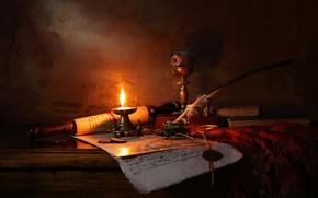 Обои свеча, Натюрморт со свечой и свитком, Still life with candle and scroll