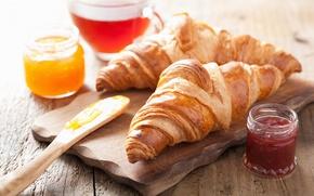 Обои круассаны, breakfast, выпечка, джем, croissants