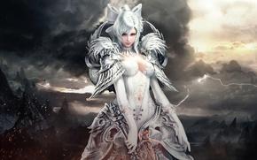 Картинка girl, sword, fantasy, armor, pretty, ken, blade, warrior, RPG, oppai, bishojo, navel, Revelation Online, MMORP