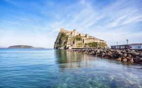 Картинка замок, Италия, форт, Italy, coast, panorama, Europe, view, fortress, island, castle, cityscape, Naples, Неаполь, travel, …