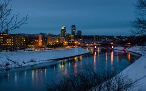 Картинка зима, мост, lights, отражение, улица, фонари, панорама, канал, winter, Литва, Houses, Вильнюс, Vilnius