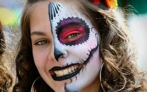 Картинка взгляд, девушка, лицо, раскрас, dia de los muertos, день мёртвых
