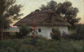 Обои Украинский пейзаж с хатой, Ефим ВОЛКОВ, масло, Холст, дом, цветы