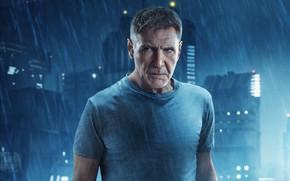 Обои Харрисон Форд, постер, Бегущий по лезвию 2049, Blade Runner 2049, дождь, город, огни, фантастика, ночь, ...