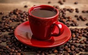 Обои чашка, напиток, зёрна, крупным планом, красная, кофе, боке, блюдце