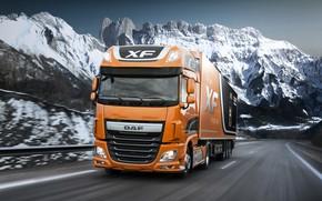 Картинка дорога, снег, горы, оранжевый, движение, ограждение, DAF, седельный тягач, ДАФ, Super Space Cab, полуприцеп, 4х2, …