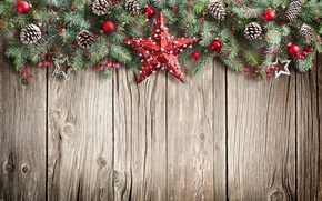 Обои christmas, xmas, Рождество, wood, balls, star, fir tree, merry christmas, Новый Год, decoration