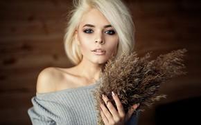 Картинка girl, Model, photo, blue eyes, short hair, bokeh, lips, face, blonde, portrait, smoky eyes, mouth, …