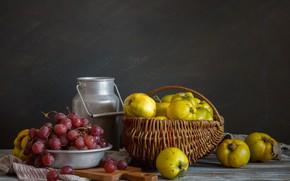 Картинка виноград, Натюрморт, айва