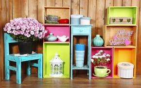Обои шкатулка, decoration, colorful, colors, полки, lantern, design, home, interior, цветы, flowers, ваза