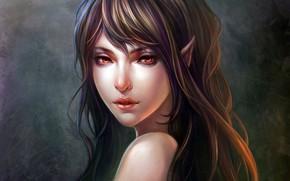Картинка girl, fantasy, long hair, red eyes, lips, face, brunette, artwork, fantasy art, Elf, portrait, mouth, …