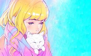 Обои лицо, шарф, девочка, голубые глаза, голубой фон, челка, желтые волосы, Илья Кувшинов, белый котенок