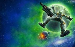 Картинка космос, планета, шар, звёзды, Renegade Moon