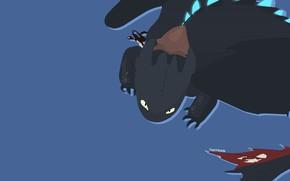 Картинка Toothless, Minimalism, How to Train Your Dragon