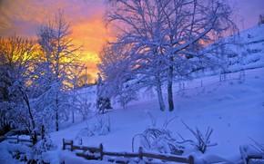 Обои закат, деревья, зима, снег, склон, вечер, забор