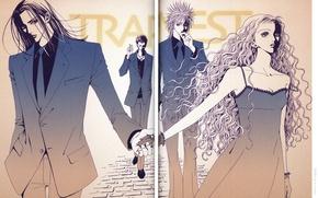 Картинка группа, сигарета, костюм, галстук, перчатки, кудри, длинные волосы, art, ai yazawa, nana, reira serizawa, ren …