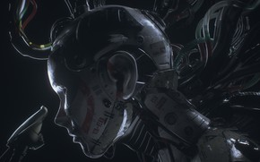Обои провода, робот, кабели, голова, киберпанк, андроид, cyberpunk