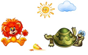 Обои львёнок, черепаха, солнышко, настроение, детская, мультфильм, картинка, арт