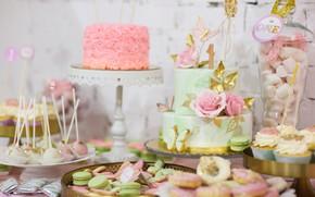Картинка цветы, торт, пирожные, ассорти
