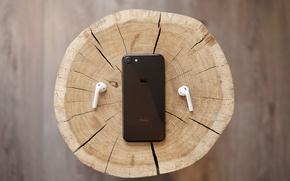 Картинка макро, дерево, черный, iPhone, пень, наушники, древесина, срез, пенёк, EarPods, iPhone 7