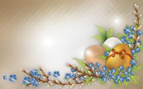 Картинка яйца, Пасха, верба