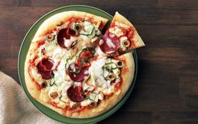 Картинка сыр, пицца, помидоры, колбаса
