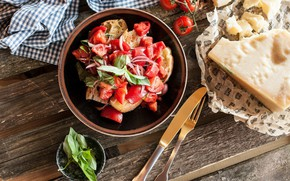 Картинка лук, салат, специи, закуска, базилик, сухарики, помидоры-черри, сыр пармезан