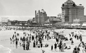 Обои США, пляж, люди, берег, 1915-й год, ретро, море