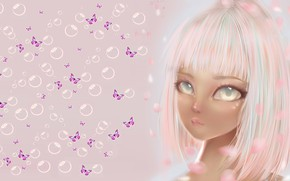 Картинка бабочка, аниме, арт, девочка