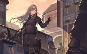 Картинка gun, game, weapon, anime, rifle, bishojo, HK G36, G36C, G36, Heckler & Koch, H&K, Girl …