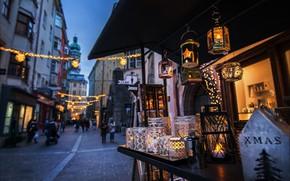 Обои фонарики, Инсбрук, Рождество, башня, улица, дома, часы, Австрия, праздник