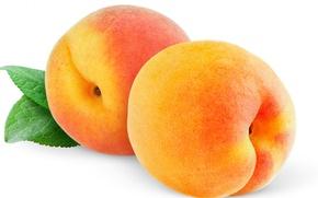 Картинка макро, лист, фрукты, персики