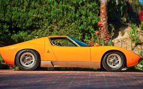 Картинка Авто, Lamborghini, Машина, Оранжевый, Ресницы, 1971, Фары, Автомобиль, Supercar, Вид сбоку, Lamborghini Miura, P400, SVJ, …