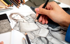 Картинка рисунок, рука, карандаши, ткани
