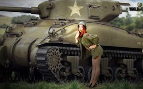 Обои гимнастёрка, трава, туфли, американский, деревья, Sherman, танк, поле, девушка, рисунок, World of Tanks, средний, рыженькая, ...