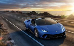 Обои закат, побережье, Lamborghini, Spyder, 2018, Huracan, Perfomante