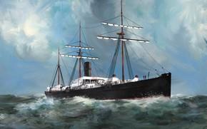 Картинка волны, корабль, Transatlantic Ships, devonia