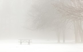 Картинка зима, туман, скамья